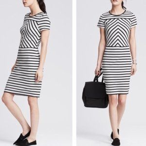 Banana Republic white and black striped dress